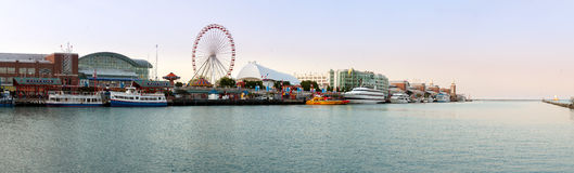 Panorama of Navy Pier in Chicago Stock Image