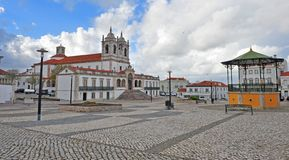 Panorama of Nazare cathedral square stock images