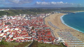 Panorama of Nazare, Portugal stock video footage