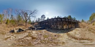Panorama near fortress defensive structureof the First World War . Full spherical 360 by 180 degrees seamless panorama in stock image