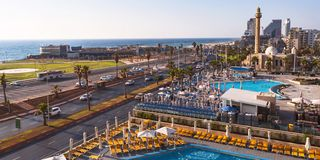 Frishman Beach Panorama in Tel Aviv, Israel royalty free stock photos
