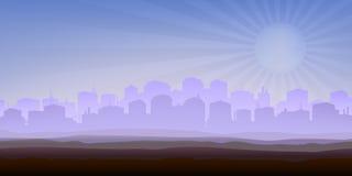 Panorama nebbioso della città Fotografie Stock