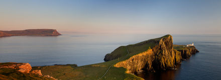 Panorama of Neist Liighthouse at sunset Royalty Free Stock Image