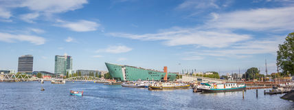 Panorama of the Nemo Science Center in Amsterdam Royalty Free Stock Photography