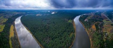 Panorama Nemunas zapętla regionalność parka Zdjęcia Royalty Free