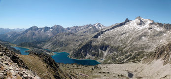 Panorama of Neouvielle mountain with two lakes. Royalty Free Stock Photography