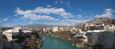 Panorama of Neretva River in Mostar Old Town Royalty Free Stock Photo