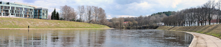 Panorama Neris river Royalty Free Stock Image