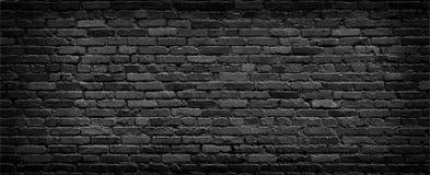 Panorama nero del muro di mattoni Immagine Stock