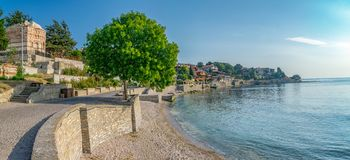 Panorama of Nessebar ancient city on the Bulgarian Black Sea Coast. Nesebar or Nesebr is a UNESCO World Heritage Site. Panoramic. View of Nessebar city on a royalty free stock photography