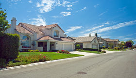 Panorama neuf de maison de rêve américain Photo stock