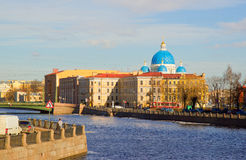 Panorama of Neva Embankment of St. Petersburg. Royalty Free Stock Photos