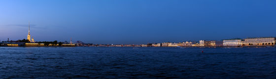 Panorama of Neva River at Evening, Saint Petersburg Stock Image