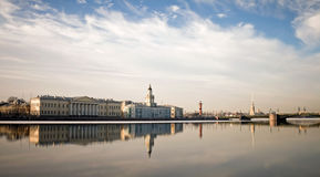 Panorama of Neva river in Saint-Petersburg Royalty Free Stock Photos