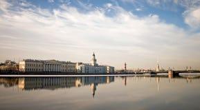 Panorama of Neva river in Saint-Petersburg. Classical panorama of Neva river in the historical center of Saint-Petersburg, Russia Royalty Free Stock Photos
