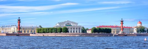 Panorama of the Neva river with the Stock Exchange, St Petersburg Russia. Panorama of the Neva river with the Stock Exchange, St Petersburg, Russia Stock Photo