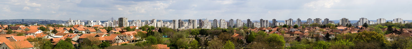 Panorama of New Belgrade, Belgrade, Serbia. High-resolution panorama shot of municipality of New Belgrade, city of Belgrade - capitol city of Serbia (Balkans Royalty Free Stock Photography
