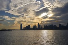 Panorama of New Jersey in the setting sun. Panorama of New Jersey in the setting sun, view from Manhattan Stock Photo