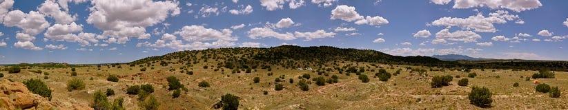 Panorama of New Mexico Landscape near Santa Fe. Panorama of desert landscape in New Mexico royalty free stock images