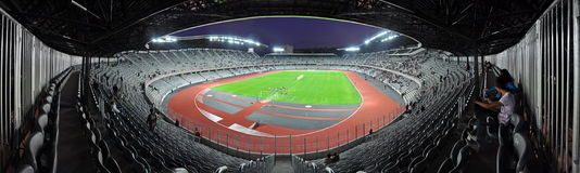 Panorama of a new stadium Stock Image