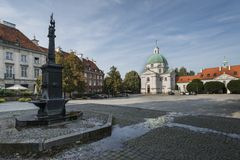 Panorama of New Town Square in Warsaw, Poalnd Stock Photography
