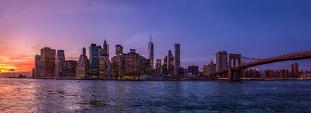 Panorama of New York City from Brooklyn stock image