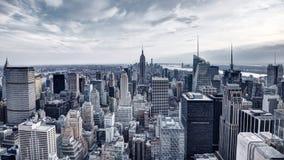 Panorama New York City för flyg- sikt Arkivfoton