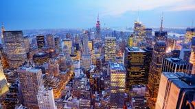 Panorama New York City för flyg- sikt Arkivbild