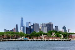 Panorama of the New York City Manhattan and Governors Island Stock Photography