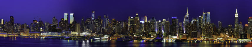 New York Manhattan Panaroma at Night Stock Images