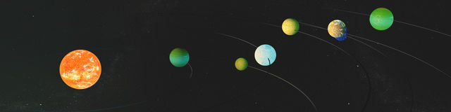 Panorama newly discovered exoplanets in TRAPPIST-1 system. The creative idea of the seven planets, and the new sun. Royalty Free Stock Photo