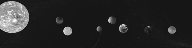 Panorama newly discovered exoplanets in TRAPPIST-1 system. The creative idea of the seven planets, and the new sun. Royalty Free Stock Image