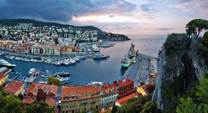 Panorama of Nice Port from the Castle Hill before sunrise Stock Photography