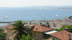 Panorama of Nice. Yachts in sea stock video