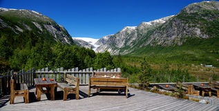 Panorama on Nigardsbreen glacier. Norway. Nigardsbreen is a glacier arm of the glacier Jostedalsbreen. Nigardsbreen lies nearby Gaupne in the Jostedal, Luster royalty free stock images