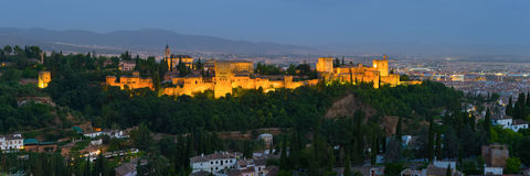 Panorama of night Alhambra in Granada Stock Image