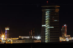 Panorama night barcelona. Shot of Columbus Monument and quay in evening. Barcelona royalty free stock photo