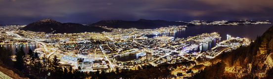 Panorama, Night Bergen. Norway Royalty Free Stock Photo