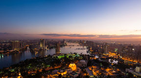 Panorama of night Cairo from the top of the Cairo TV tower Stock Photos