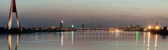 Panorama of night city Royalty Free Stock Images