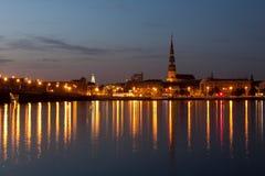 Panorama of night city Stock Photography