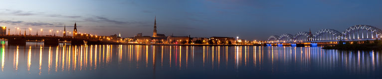 Panorama of night city royalty free stock photography
