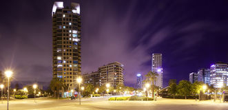 Panorama of night city Stock Photos