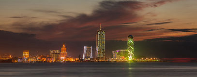 Panorama night city Batumi Royalty Free Stock Images