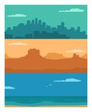 Panorama night city, day sea and sunset mountain. Royalty Free Stock Photo