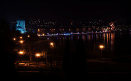 Panorama of night city lights and reflections on lake at Ternopi Stock Image