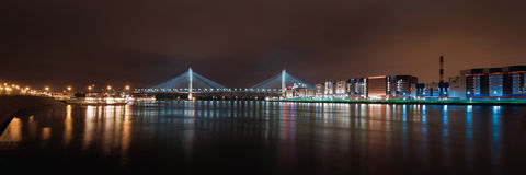 Panorama of the night city. Night lights of St. Petersburg Stock Images
