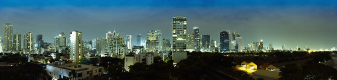 Panorama of night city - Thailand, Bangkok Stock Images