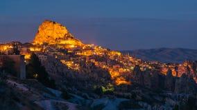 Panorama of night city Uchisar stock photography