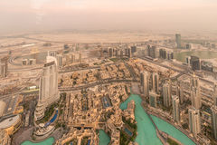 Panorama of night Dubai during sandstorm Royalty Free Stock Photography